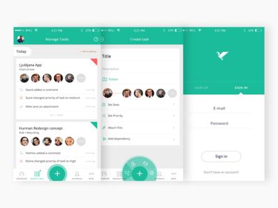 Project management app (samples) signup signin priority date more profile tasks dashboard ui project management