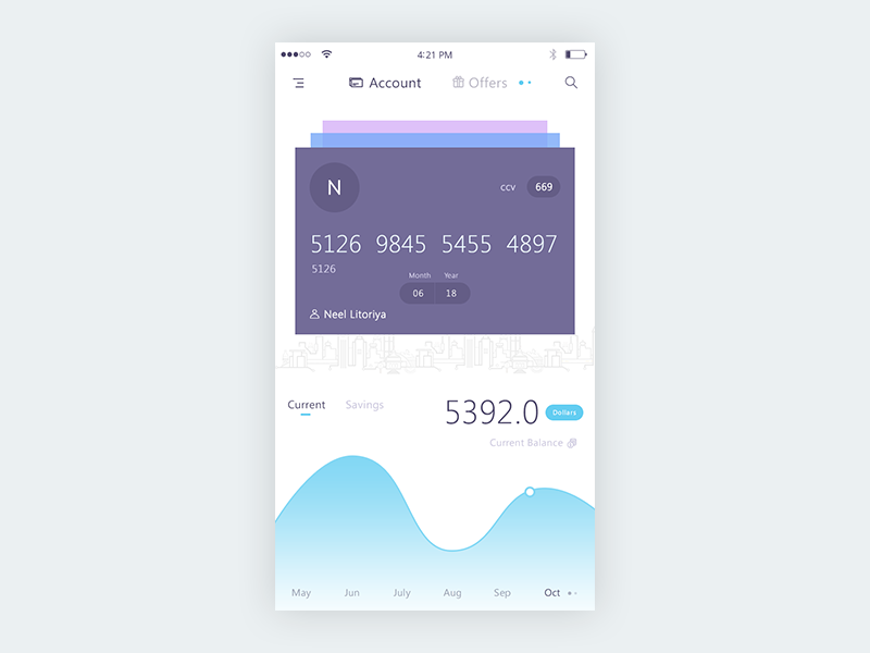 Bank app mockup  home graph savings current ui mockup app bank