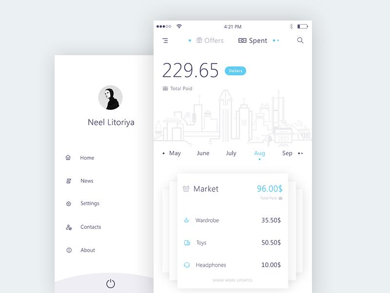 Spent + Sidemenu (Bank app mockups) market logout about contacts settings news home calendar app ui sidemenu spent