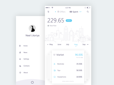 Spent + Sidemenu (Bank app mockups)