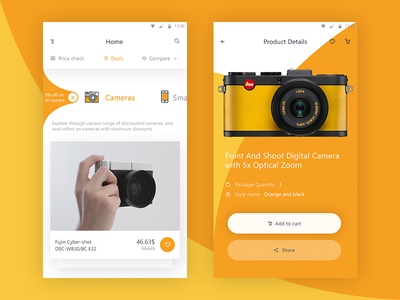 E-commerce app samples  like search share addtocart smartphone camera compare deal home detail product ecommerce