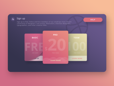 Sign Up Card for Dribbble (Experimentation) help learnmore team basic free pro signup dribbble cards