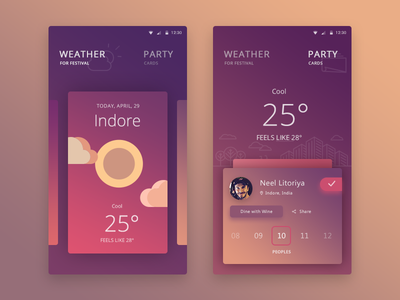 Personal Festival App (Finally Done:) people dinner party cards weather ui user festival