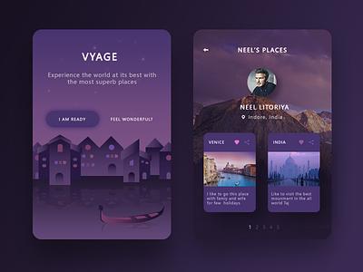 Vyage app mockups  india venice neel discover explore ui app vyage