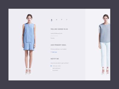 Fashion list Profile Selection cart favourite settings email web ui neel profile fashion. list