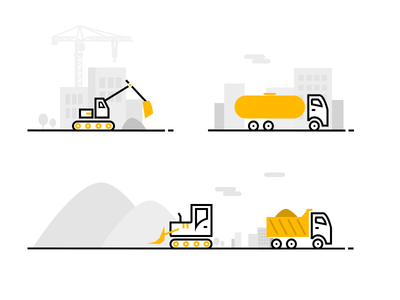 Cons Illustration lineicons icons line tractor truck web ui illustration crane construction