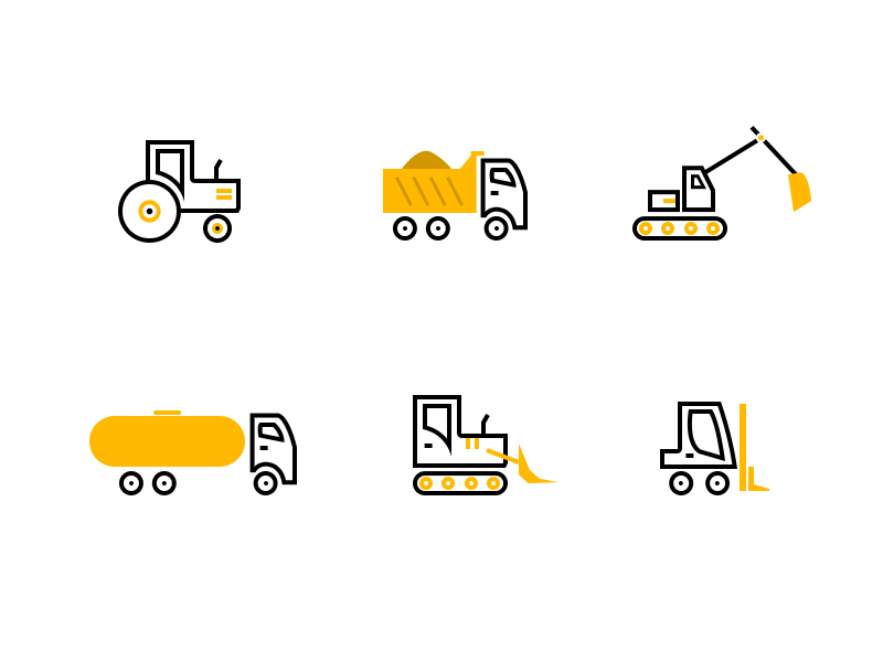 Cons Icons SET line truck tractor construction ui set icons
