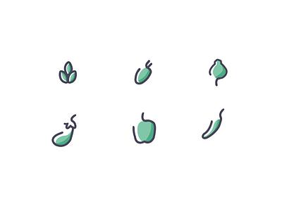 Veggie Icons vegetarian veg food ui icons line
