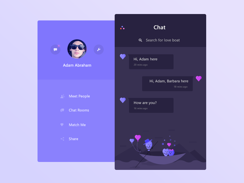 Chat app demo screens 3 (WIP) cute illustration chat sidemenu ui user search people room match message settings