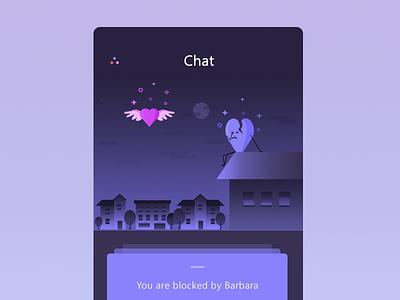 Blocked screen night illustration heart chat app ui block
