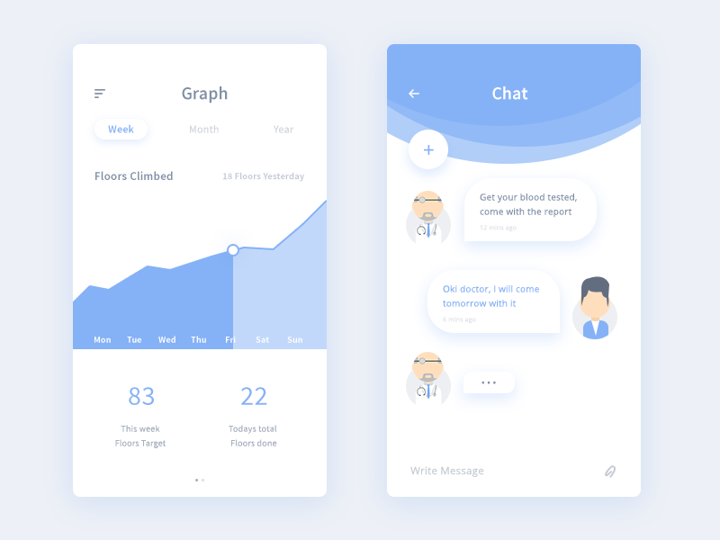 Some medical screens (WIP) patient doctor year month week graph chat ui app medical