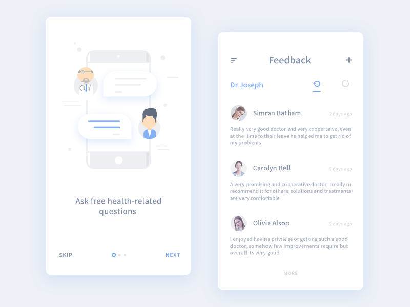 Feedback and Walkthrough (from medical app) user next skip patient doctor walkthrough feedback