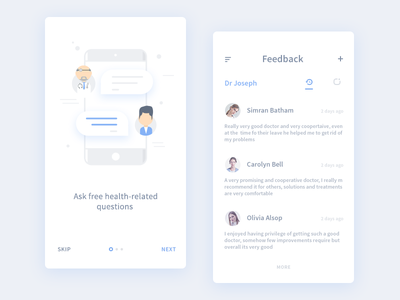 Feedback and Walkthrough (from medical app) user next skip patient doctor walkthrough feedback