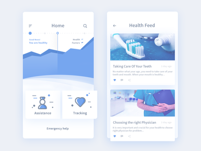 Home + Feed for medical app (WIP) article app ui doctor user feed analytics graph home
