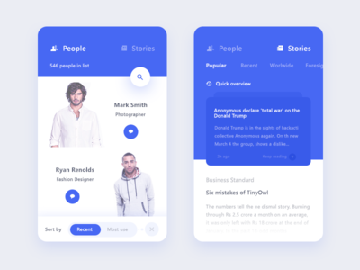 people + story screen recent popular stories sort filter chat search app ui news story people