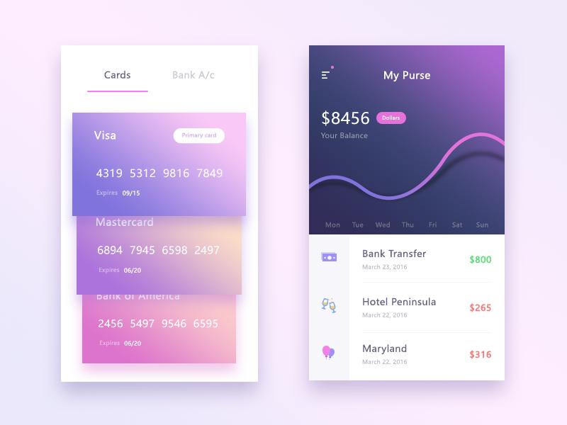 Purse UI spend hotel bank cards mobile ui app purse wallet