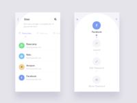 PassSafe app (sites and options screen)