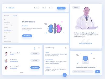 Medicure ui kit ser. 2 quote newsletter patient listing category kit ui doctor medical header