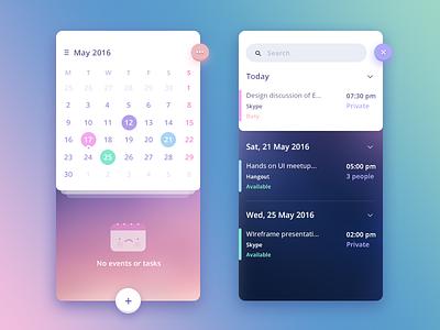 N-calendar app concept date add menu search app ui event task calendar