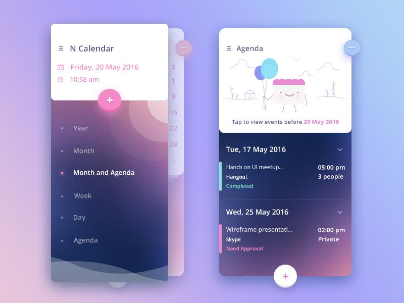 Sidemenu+Agenda date add agenda sidemenu ui app calendar