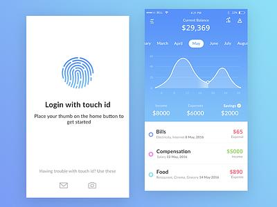 Bank app mock ups (Current balance + Login) camera menu user economic income savings balance current ui app bank