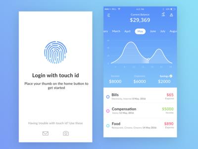 Bank app mock ups (Current balance + Login)