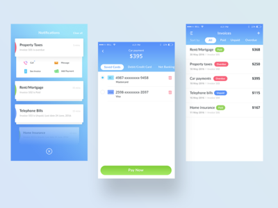 Invoice + Notifications (Bank app mockups) payment message call notifications bill invoice ui app bank