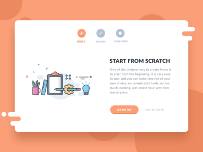 Form start up (Choosing form creation from scratch) button configure design build ui web form scratch start