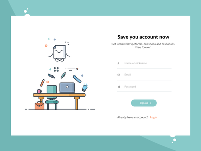 Sign Up for form creation mac table response question illustration add create login signup