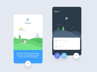 Flutter intro screens (photography app) camera photograph ui app flutter landscape signin create signup castle