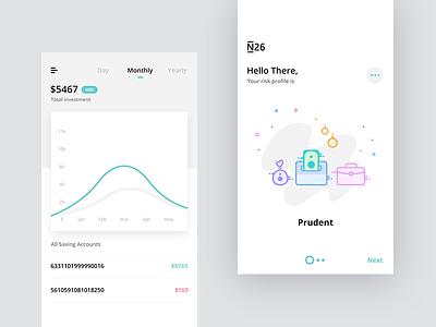 Dashboard + Risk profile assess create setup account saving graph bank ui profile dashboard