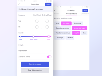 Questions and filter by section (WIP) radius online profile answer public priority ui app dating filter question