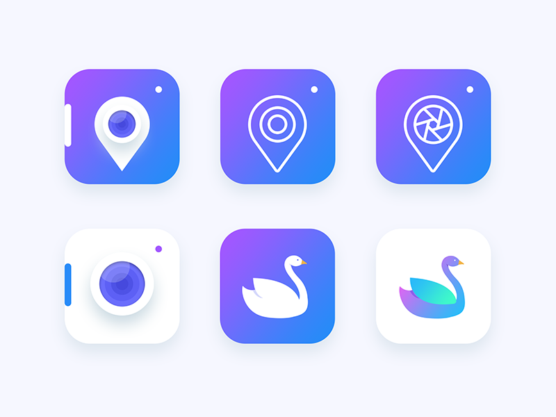 Location based Photography app icon Exploration pic photo pin swan lens camera android ios ui location