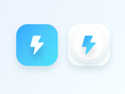 bolt app icon for an android application (WIP) oval share social icon cyan blue android ui app lightning bolt