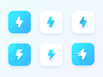 Bolt App Icon explorations speed icon cyan people share lightning bolt app blue ui android