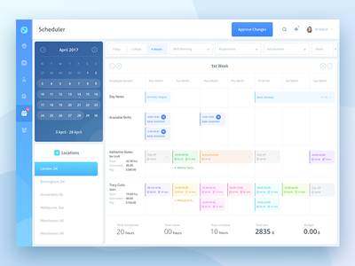 Scheduler Test Assignment  add schedule calendar home activity user bill scheduler reminder approve changes search notifications april locations london week days months planning positions employee employer company