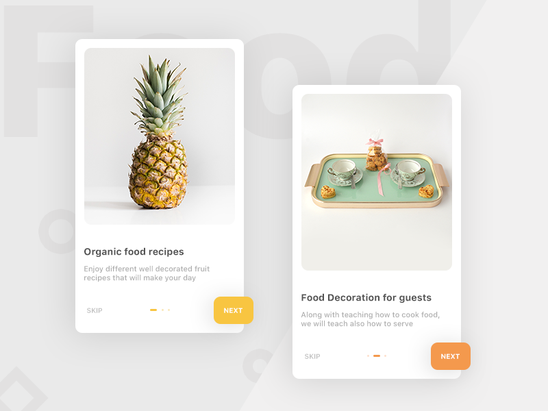 Food App Onboarding (unused element part 20) cuisines recipes plates share slider next skip onboarding android ios app food