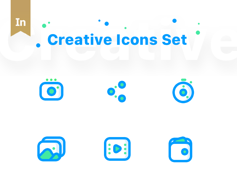 Creative Icons Set (Soon ready to sell) money cash cinema wallet landscape video share timer clock camera gallery app web ui family icons