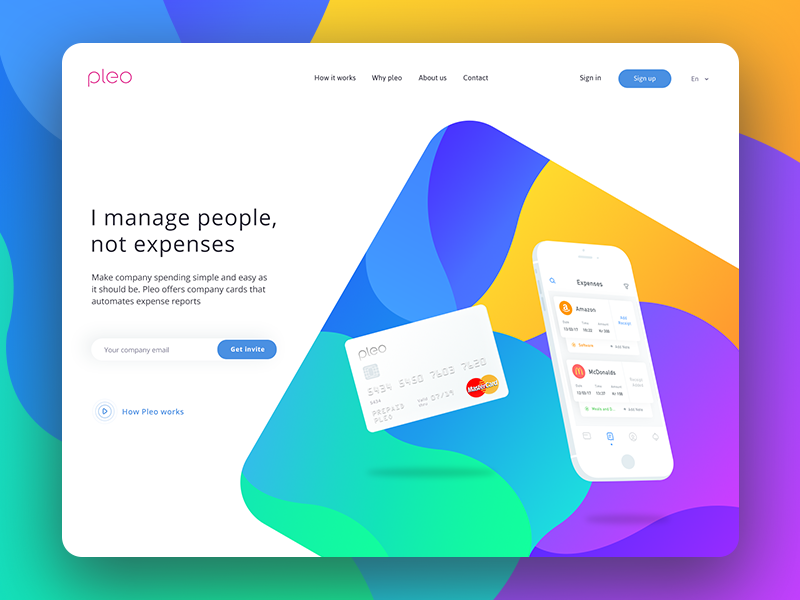 Pleo Header Exploration (WIP 4) signin credit debit money cash finance bank receipt search expense card header
