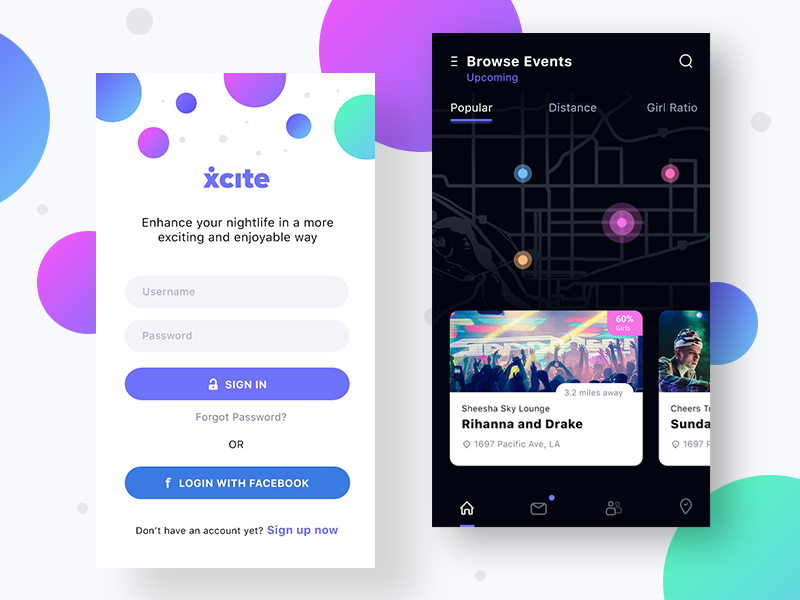 Xcite App Login and Browse Events signup signin ios ui trending popular location gps find browse event