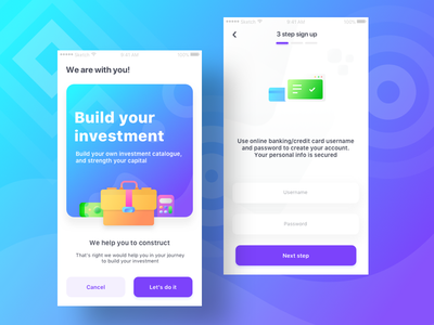 Investment App Wip-2 browser security card finance cash investment logout ui ios login steps signup