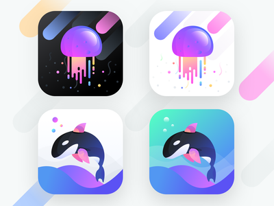 App icons for social app (Unused element part 23) ui android ios chat conversation message discover home group people sea social water share dolphin jellyfish