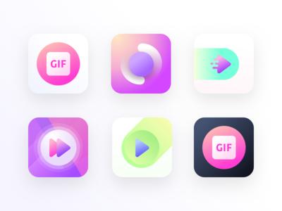 Short Videos app logos (unused element part 25) camera sticker animated gifs speed forward play gif logos app videos short