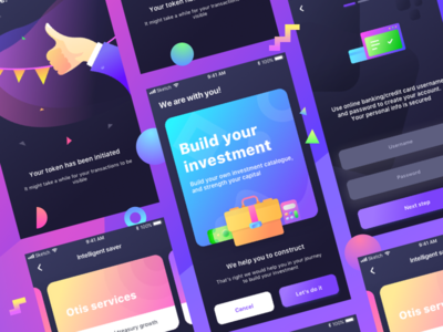 Investment App Wip 3 (Darker shade) chat savings portfolio security signin login signup cash money invest investment
