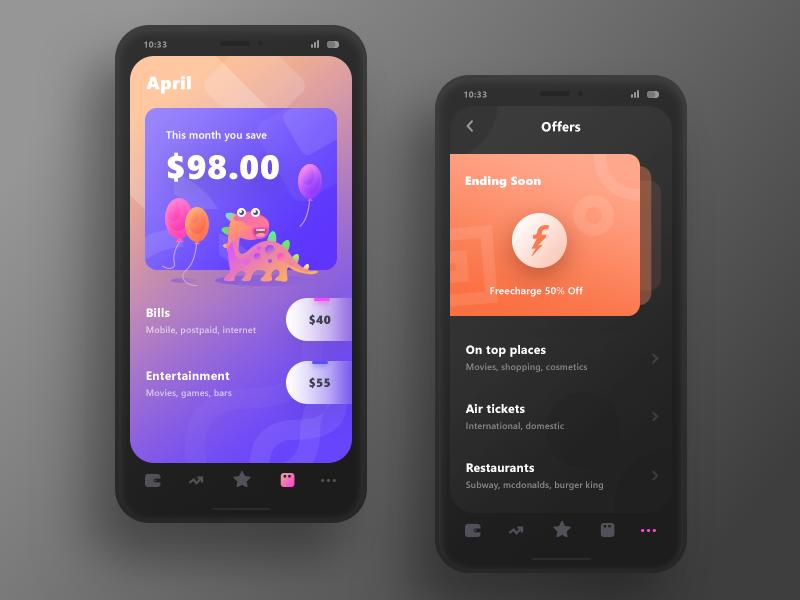 Smart Expense goes Darker offers tickets coupons receipt bills saving ui cash money finance expense smart