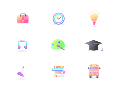 From Learning Icons palette painting potion chemicals college school bus idea clock headphones briefcase education