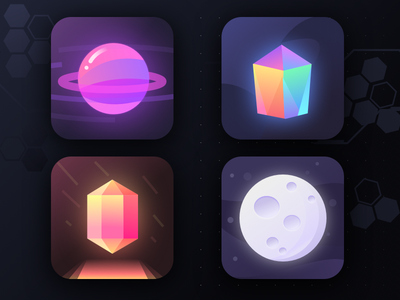 Unused app icons (part 29) social earth moon orb prism universe galaxy stars planet space logos