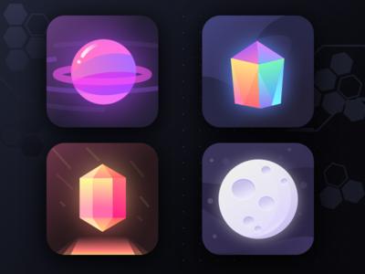 Unused app icons (part 29) social earth moon orb prism universe galaxy stars planet space logos
