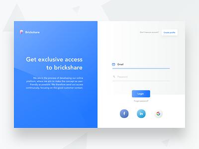Login profile create property google facebook password email ui construction brickshare web login