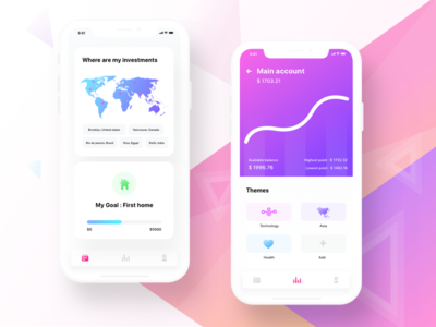 Investment app prototype balance design illustration icon home map user profile graph technology firststep investment